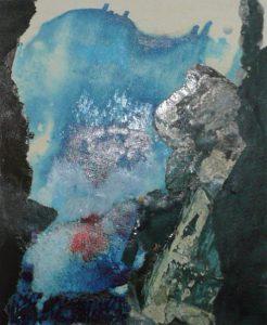 Ohne Titel (Ölfarbe, Umdruck, Collage)